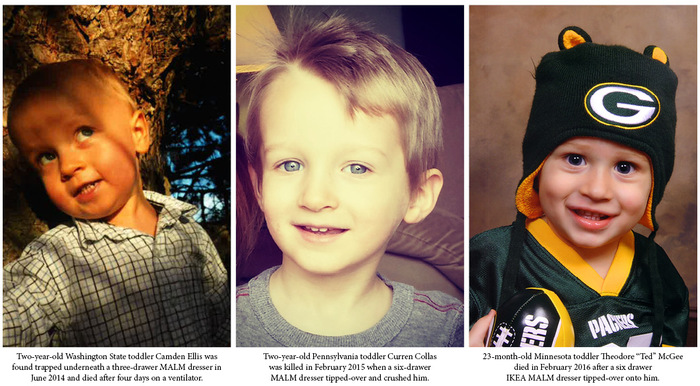 Three toddlers were killed after IKEA MALM dressers tipped over and crushed them.